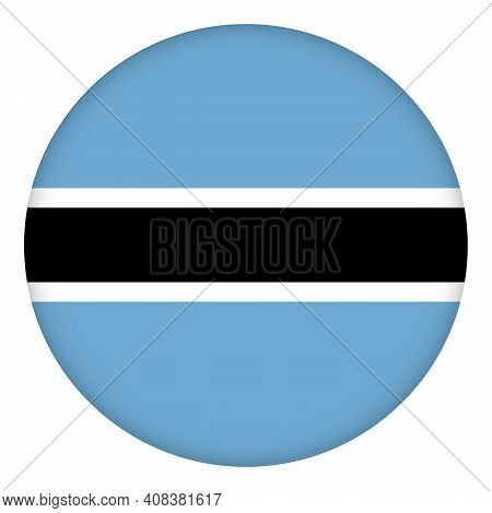 Flag Of Botswana Round Icon, Badge Or Button. National Symbol. Template Design, Vector Illustration.