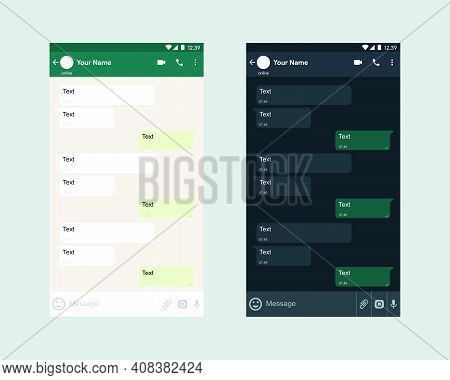 Mobile Ui Kit Messenger. Mobile Phone. Chat App Template Simple And Modern . Social Network Concept.