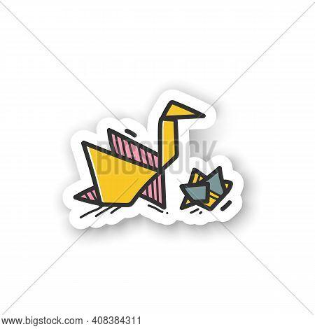Origami Sticker. Handmade Paper Japanese Bird. Aesthetic Art Of Paper Folding Badge For Designs. Hom