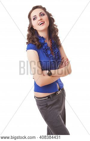 Businesswomen Concepts. Portrait Of Young Positive Caucasian Businesswoman In Blue Shirt Posing With