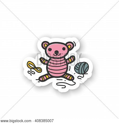 Amigurumi Handmade Sticker. Knitting A Perfect Teddy-bear, Using Needle Pins And Wool Clew Balls. Ha
