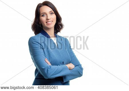 Females In Business. Natural Portrait Of Young Confident Caucasian Business Woman In Blue Checked Su