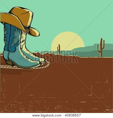 Western Image Illustration With Desert Landscape