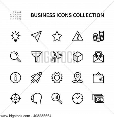 Business And Finance Vector Linear Icons. Business Management. Idea, Profit, Time, Team, Marketing,