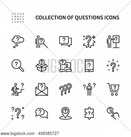 Questions And Problem Ask And Think Vector Linear Icons Set. Contains Icons As Puzzle Confused Man Q