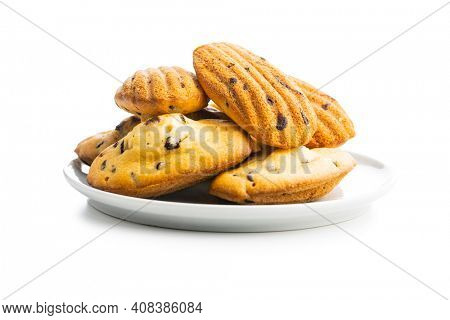 Madeleine with chocolate. Traditional French small cakes isolated on white background.
