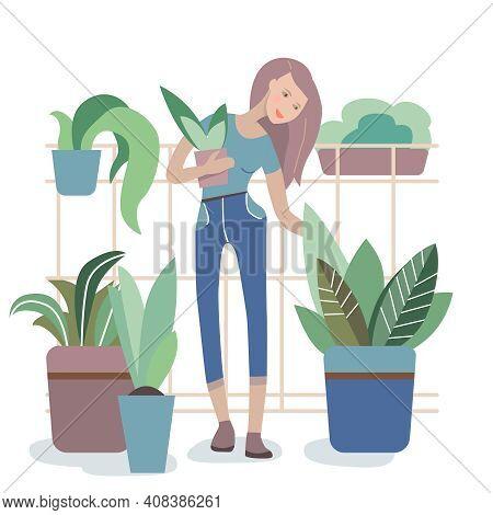 Woman Watering Houseplants On Balcony, Gardening Hobby Illustration. Girl Cartoon Character Growing
