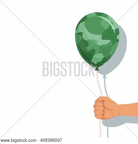 23 February. Day Of The Defender Of Fatherland. Camouflage Ball In Hand No Background. Vector Graphi
