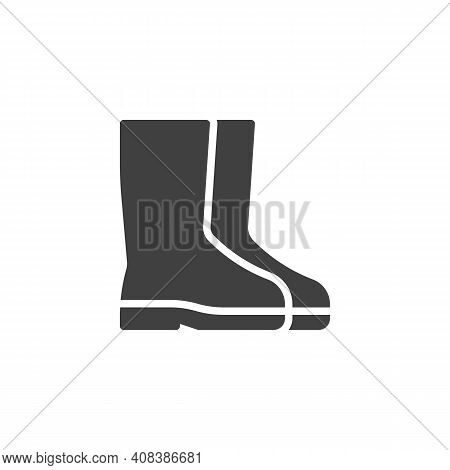 Rubber Boots Vector Icon. Filled Flat Sign For Mobile Concept And Web Design. Safety Boots Glyph Ico