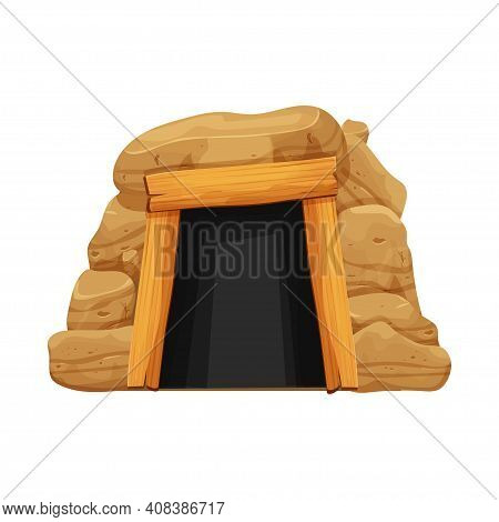 Old Cave, Mine Entrance In Cartoon Style From Stones, Rocks And Wood Planks Isolated On White Backgr