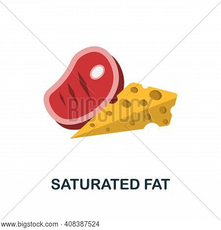 Saturated Fat Flat Icon. Color Simple Element From Nutrition Collection. Creative Saturated Fat Icon