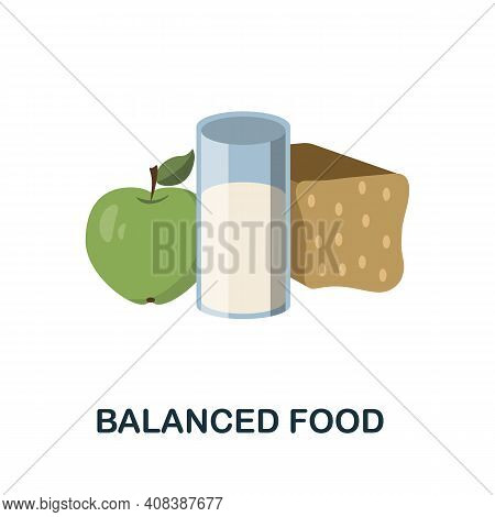 Balanced Food Flat Icon. Color Simple Element From Nutrition Collection. Creative Balanced Food Icon