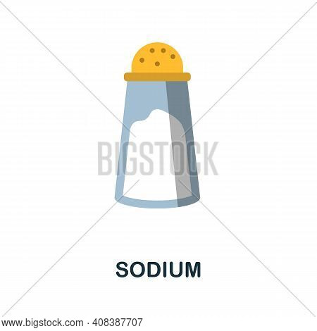 Sodium Flat Icon. Color Simple Element From Nutrition Collection. Creative Sodium Icon For Web Desig