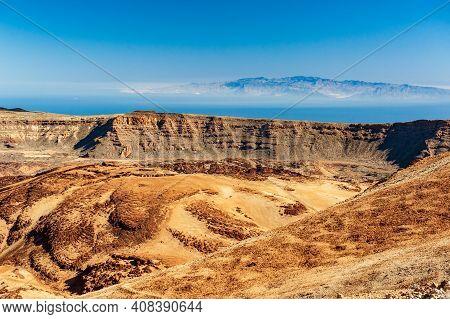 Desert Crater And Canary Islands La Gomera And El Hierro In Sea From Pico Del Teide Mountain In El T