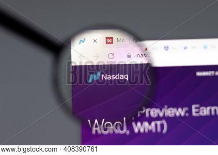 New York, Usa - 15 February 2021: Nasdaq Website In Browser With Company Logo, Illustrative Editoria