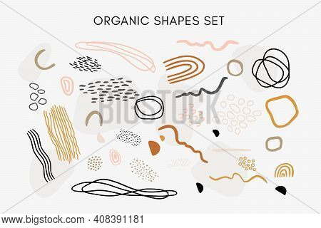 Set Of Vector Hand Drawn Abstract Organic Textures, Lines, Shapes And Elements In Warm Neutral Tones