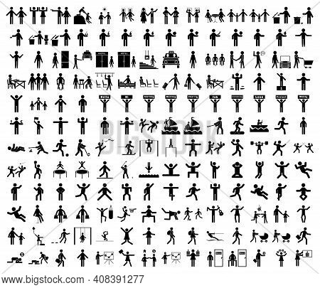 A Set Of Stick Figures On The Theme Of Lifestyle, People In A Variety Of Life Situations. A Set Of I