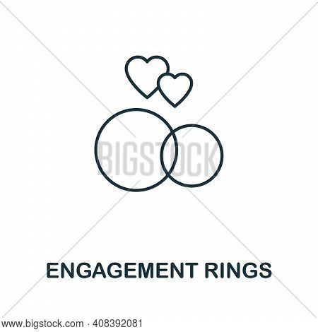 Engagement Rings Icon. Simple Element From Jewelery Collection. Creative Engagement Rings Icon For W