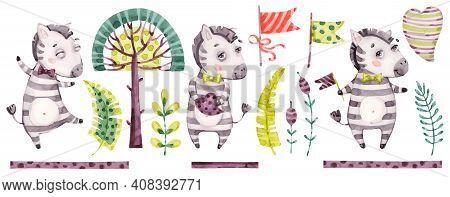 Baby Cute Zebra Boy. Vector Watercolor Nursery Cartoon Jungle Animals Horse, Tropical Trees, Leaves.