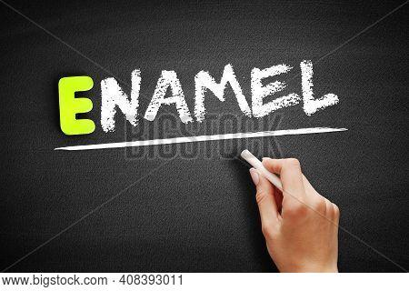 Hand Writing Enamel On Blackboard, Concept Background