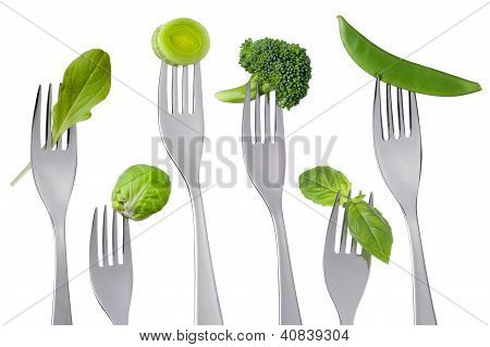 Healthy Green Food On White