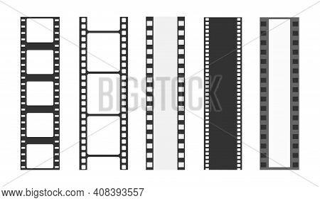 Cinema Strip Templates. Negative And Strip, Media Filmstrip. Film Roll Vector, Film 35mm