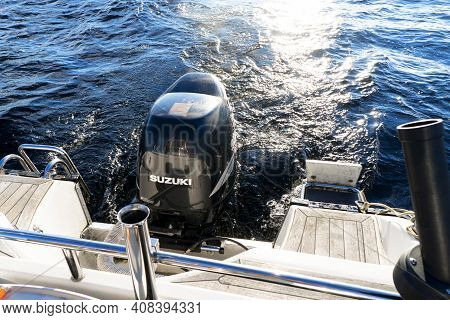 Sankt-petersburg, Russia, September 23, 2020: Modern Fishing Sport Boat With A Brand New Suzuki Four