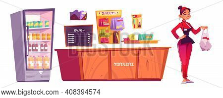 Konbini, Convenience Store Furniture And Woman Seller Isolated On White Background. Vector Cartoon S