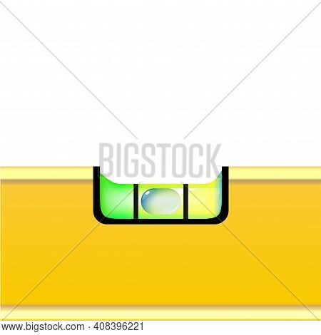 Construction Bubble Level Yellow Macro Tool Isolated On White Background. Instrument, Realistic With