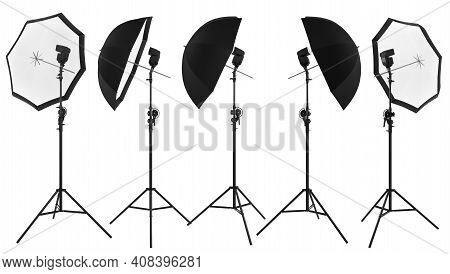 Photography Studio Lighting Stand With Speedlight And Umbrella Isolated On White Background With Cli