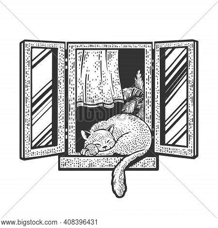 Cat Sleeps On Windowsill In Open Window Sketch Engraving Vector Illustration. T-shirt Apparel Print