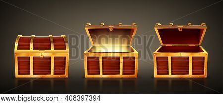 Wooden Chest With Open And Closed Lid. Pirate Treasure Box With Magic Glow Inside. Vector Realistic