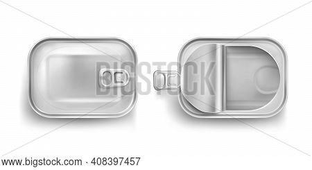 Aluminium Tin Can For Sardine In Top View. Vector Realistic Mockup Of Rectangle Metal Containers For