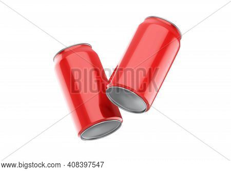 Red Can Mockup For Beer, Alcohol, Juice, Energy Drink And Soda, Aluminium Metal Can Mock Up On Isola