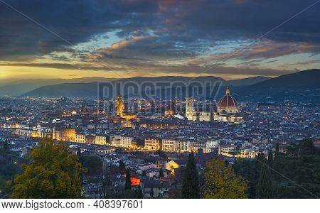 Florence Or Firenze Sunset Aerial Cityscape From Piazzale Michelangelo. Palazzo Vecchio And Duomo Ca