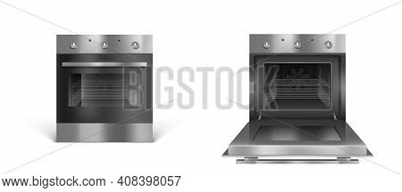 Oven, Electric Kitchen Appliances, Open Or Closed Stove Of Silver Color Front View. Household Techni