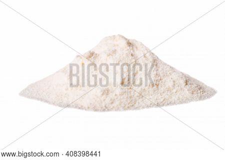 Heap Of White Protein Powder Isolated On White Background.