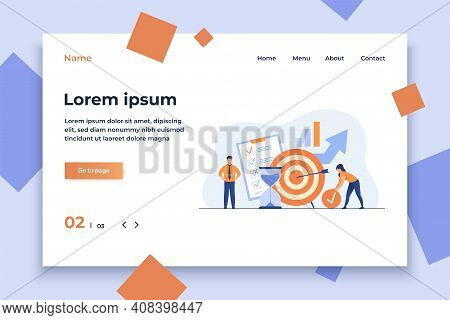Tiny People Developing Self Control System Isolated Flat Vector Illustration. Metaphor Of Target And