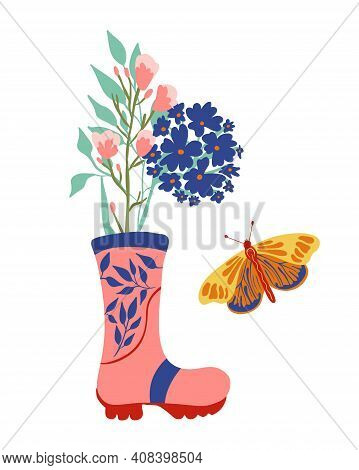 Pink Rubber Boots With Floral Bouquet And Butterfly. Spring Flowers In Wellies. Seasonal Card Compos