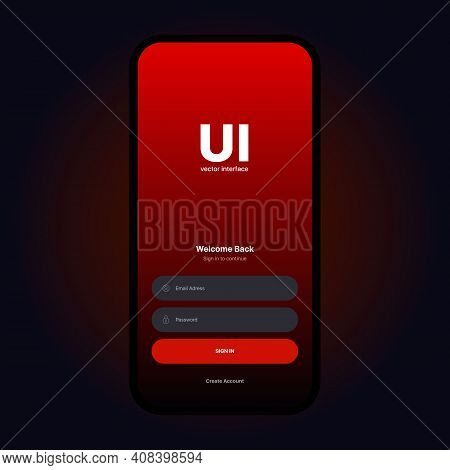 Login Ui Interface. Sign In Screen. Mobile App User Interface Design Concept. Login Sign In Screen F