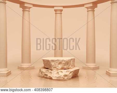 Stone block as product stand with columns and water, 3D illustration, rendering.