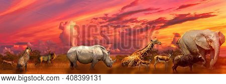 Banner Panorama Of Big Five And Wild Animals Collage With African Landscape At Sunrise In Serengeti