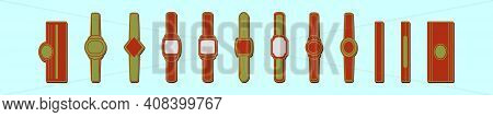 Set Of Cigar Label Cartoon Icon Design Template With Various Models. Modern Vector Illustration Isol