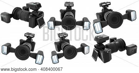 Concept Of Nonexistent Dslr Camera With Lens And External Flash Speedlight Isolated On White Backgro
