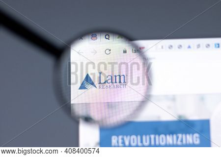 New York, Usa - 15 February 2021: Lam Research Website In Browser With Company Logo, Illustrative Ed