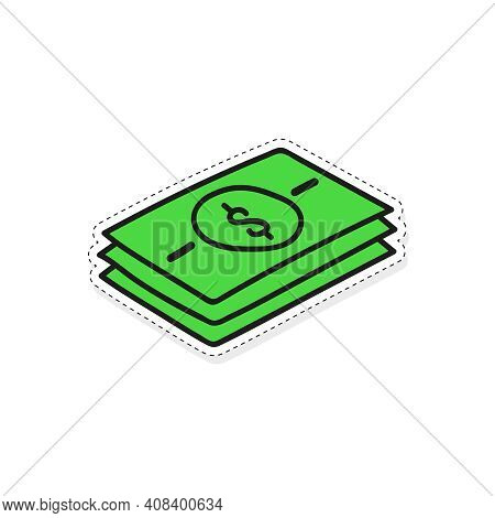 Green Banknote Stack Vector Icon In Cartoon Style. Hand Drawn Cash Money. Isolated Sticker On White