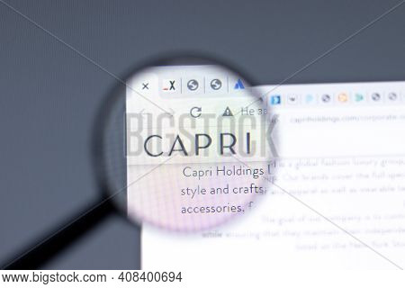 New York, Usa - 15 February 2021: Capri Holdings Website In Browser With Company Logo, Illustrative