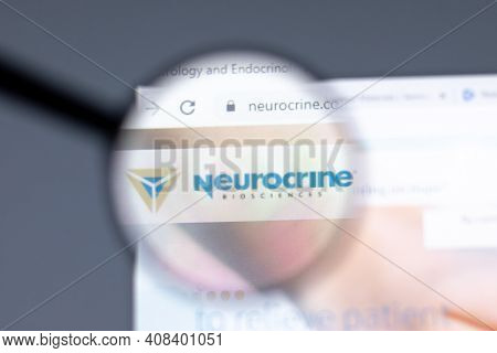 New York, Usa - 15 February 2021: Neurocrine Website In Browser With Company Logo, Illustrative Edit