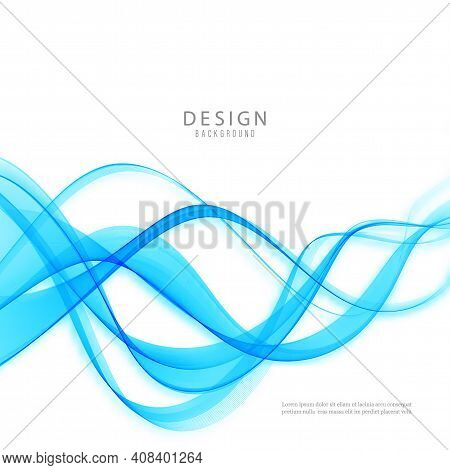 Abstract Vector Background Wave Blue Flow Wave