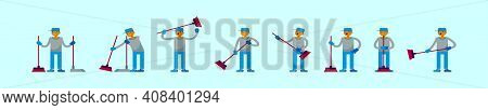 Set Of Sweep Cartoon Icon Design Template With Various Models. Modern Vector Illustration Isolated O